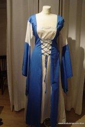 Zweifarbiges Mittelalterkleid kornblumenblau