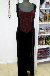 Stretchsamt Kleid mit Einsatz aus Prägesamt